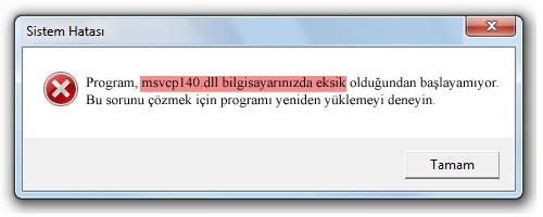 Kod yürütülmesi devam edemiyor çünkü MSVCP140.dll bulunamadı. Programı yeniden yüklemek bu sorunu çözecektir. 2