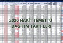 2020 Nakit Temettü Dağıtım Tarihleri ve Listesi 6
