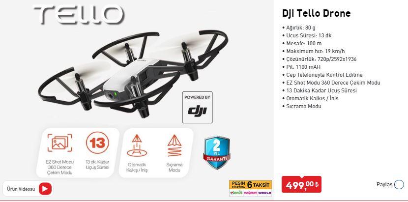 Bim DJİ Tello Drone Özellikleri, Fiyatı 10 Temmuz 2020 Aktüel Katalog 5