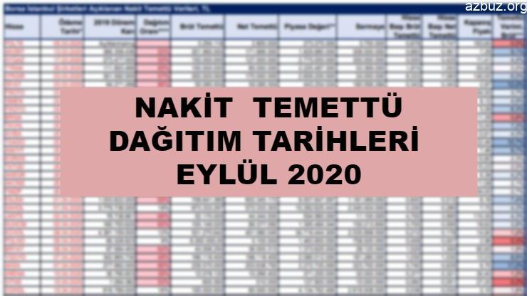 Nakit Temettü Dağıtım Tarihleri Eylül 2020 / 1 1