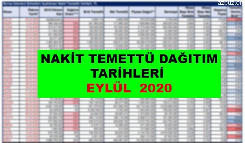 Nakit Temettü Dağıtım Tarihleri – Eylül 2020 1