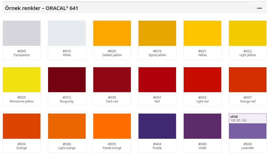 Oracal 641 Serisi Folyo Renk Kartelası 2