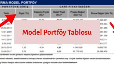 Model Portföy Tablosu – (14.10.2020) 1