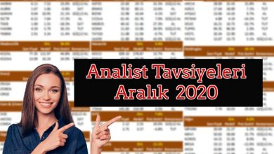 Analist Tavsiyeleri ve Hedef Fiyatları  Aralık 2020 56