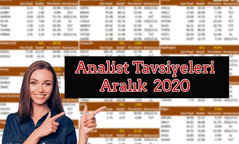 Analist Tavsiyeleri ve Hedef Fiyatları Aralık 2020 1
