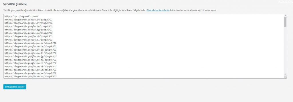 Wordpress Güncel Ping Servisleri Güncel Listesi 3